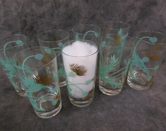 Vintage Set of 8 Turquoise and Gold Thistle Tumblers.