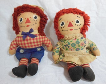 Raggedy Ann and Andy Dolls, Made In Taiwan, Vintage Dolls, Knickerbocker
