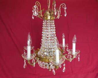 Antique Chandelier, Crystal Chandelier, Vintage Lighting