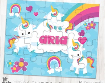 SALE baby unicorn personalized puzzle, 20 pieces puzzle, name puzzle, Personalized name puzzle, Kids Personalized Gift - PU131