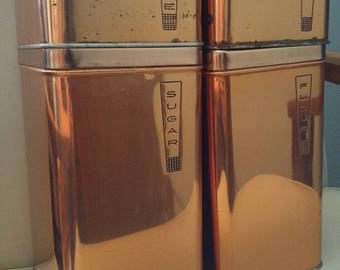 Vintage copper Lincoln Beautyware canisters / metallic / coffee , tea , flour , sugar / kitchen / baking / mid century