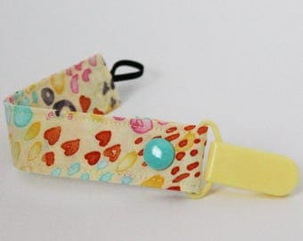 Pacifier clip, Yellow, Pink, Orange, Spring, Blue, Grey, Summer, Snap, Binky holder, Dummy keeper, Soother leash, Cute Baby Shower Gift