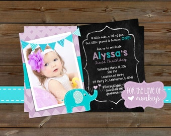 1st Birthday Elephant Invitation, 1st Birthday Invitation, Purple and Turquoise Birthday Invite