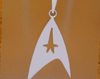 Impressive Solid 925 Sterling Silver Star Trek Logo Pendant Amazing Great Vintage Incredible Design