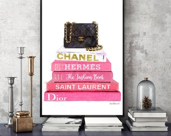 Fashion book stack Watercolor, bag, quilted, art print, pink, style,Paris, watercolour Fashion books bathroom fashion illustration gift for
