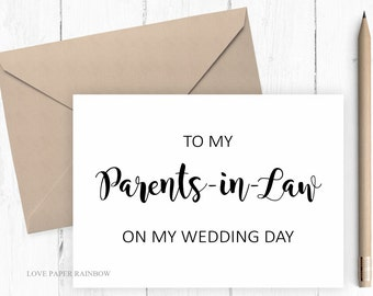 to my parents in law on my wedding day, parents in law wedding day card, wedding day card for parents in law, wedding card for in laws