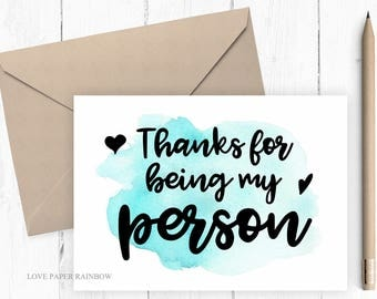 valentine card thanks for being my person best friend card for mom grey's anatomy anniversary card valentines day gift birthday card for him