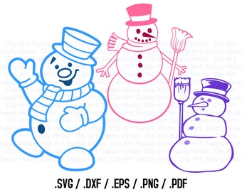 Snowman Clipart, Winter Christmas Wall Art, Snowman SVG File for Vinyl Cutters, Screen Printing, Silhouette, Die Cut Machines - CA368