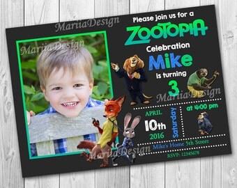 Zootopia invitation, Zootopia invitation for Boy, Zootopia Birthday Invitation, Zootopia Invitation with Photo, Zootopia Party - ONLY FILE