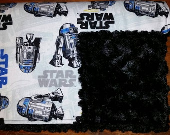 "cLeArAnCe!!! Flannel & Rosebud Minky ""Star Wars R2-D2"" Blanket"