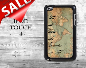 Old map Not all those who wander are lost - SALE iPod Touch 4G case - vintage world map phone iPod Touch case,  iPod cover