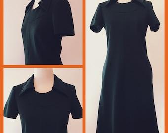 Mod Tailored '70s Little Black Dress