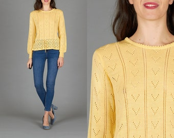 Vintage 70s Yellow Pointelle Sweater