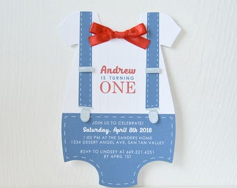 Dapper Romper Invitation: birthday, card, party invitation, baptism, communion, christening, boy birthday, baby shower- LRD030B
