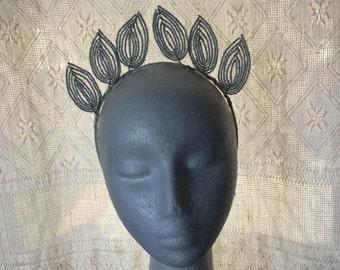 Antique glass bead leaves tiara headpiece - handmade vintage millinery headpiece