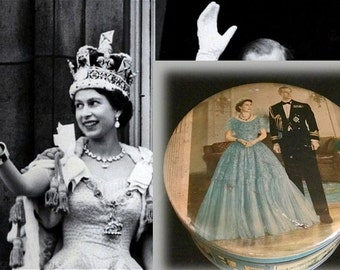 Vintage Biscuit Tin Commemorating the 1953 Coronation of Queen Elizabeth II, As Found