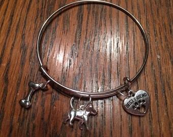 Dog charm bangle expandable bracelet