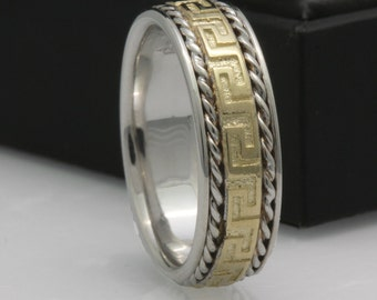 14K/18K Two Tone Gold Designer Greek Key Wedding Band 6.5mm, Yellow Gold & White Gold Band, Two Tone Band, FREE ENGRAVING