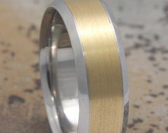7mm Two Tone Platinum & 18K Yellow Gold,Brushed Finish,Unisex Band Beveled Edge Comfort Fit Wedding Band, FREE ENGRAVING