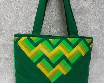 Cotton Tote Bag Green Reflective Handbag Pathwork Shoulder bag