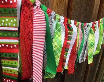 CHRISTMAS GARLAND, Rag Tie Garland, Fabric Garland, Christmas Decor, Holiday Decor, Christmas Photo Prop, Red Green White Silver
