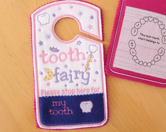 Tooth Fairy please stop here Door Hanger, Pocket, Tooth Fairy Pillow Alternative, girl colors, pink, tooth fairy coin pocket,canada