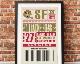 San Francisco 49ers Retro Ticket Print