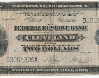 "Two 1918 Federal Reserve Bank Note ""Battleship"", 1918 two dollars, 2 dollars 1918"