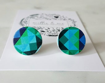 Wooden blues and greens triangle disc earrings