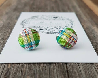 Fabric earrings/ green fabric/ fabric buttons/ stainless steel/ gift for her/ earrings/