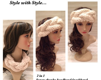 2in 1 Super Chunky Cable Knit Headband/Neckband...