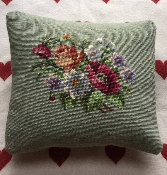 Vintage needlepoint hand made floral Victorian design cushion pillow