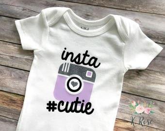 Insta Cutie Onesie, Insta Cutie Bodysuit, Instagram Inspired Onesie, Baby Girl Onesie, Funny Baby Onesie, Hashtag Onesie, Baby Girl Gift