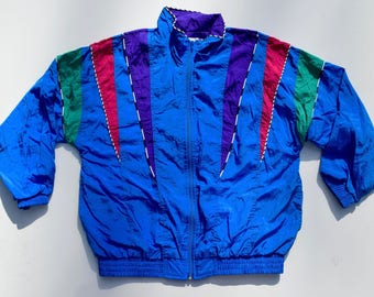 Vintage Blue Color Block Neon Aztec Windbreaker Jacket Sz. Medium