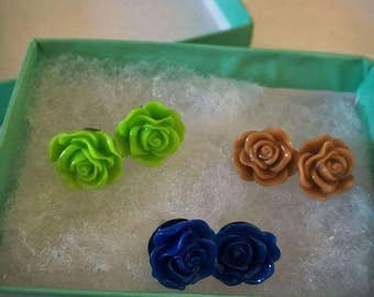 Blue, Green, and Mocha Rose Earrings