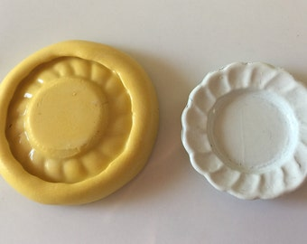 DINNER PLATE  push mold  flexible silicone soaps scrap DOLL house jewelry clay  food miniatures miniature doll accessories
