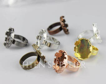 20pcs 15MM Round Ring Setting Base - Antique Bronze/silver/k white/rose gold/black/gold ring trays - ring blanks