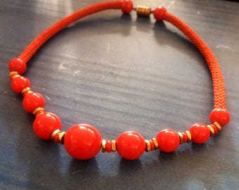 "Vintage necklace. 19"" Red and gold. Plastic and metal beads. Short necklace."