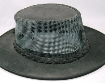 Minnetonka Leather 'The Air Flow Hat' Black Leather with Mesh Sides Size Medium    01204