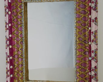 "Boho Mirror - Hand Painted Fuchsia and Gold Wall Mirror -6.5"" x 8.5""Frame  - 4"" x 6"""