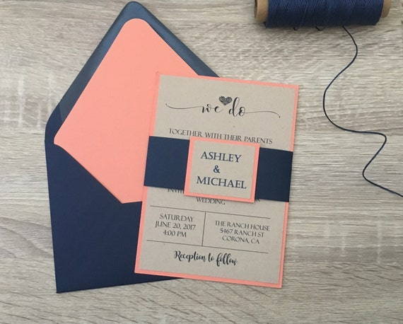 Blue And Coral Wedding Invitations: Navy Blue And Coral Wedding Invitation Coral Wedding