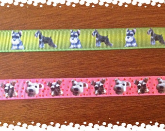 3/4 Wide Custom Made Adjustable Cute Schnauzers Grosgrain Patterns Dog Collar
