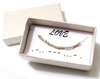 Love Morse Code, Morse Code Necklace, Custom Morse Code, Morse Code Jewelry, Love Jewelry, Love Necklace, Bridesmaid Gift, Christmas Gift