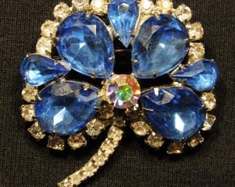 Large dark blue and clear rhinestone flower brooch, floral brooch, aurora borealis rhinestone, bridal jewelry, tear drop, mid century