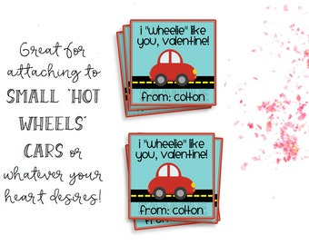 Valentine's Day Tags, Valentine's Day Cards, Printable Valentine's Day Tags, Printable Valentine's Day Cards, Printable Car Valentine's Tags