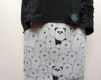 Short skirt patterned bear/panda, cats, rabbits Jersey