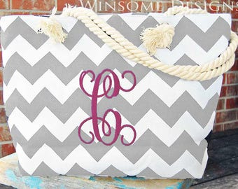 Gray-Chevron-Tote-Bag-Tote Bag-Monogram-Monogrammed-Monogramming-Grey-With Initials-Initialed-Bridesmaid-Summer-Personalized-Cruise-Travel