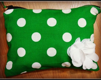 Green and White Polka Dot Zipper Pouch, Zipper Pouch, Small Zipper Pouch
