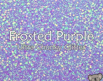 Chunky Frosted Purple Glitter Fabric A4 Or A5 Sheets Faux Leather For Bows & Crafts