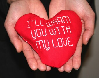 Reusable Hand Warmer, Heart with Text, Valentine's Day Gift, Hot Cold Pack